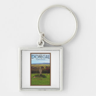 County Donegal - Stone Cross Silver-Colored Square Key Ring