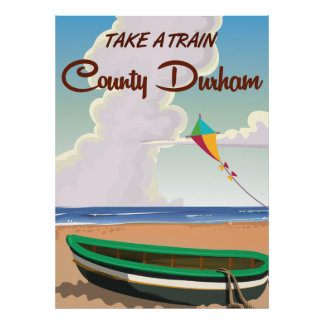 County Durham Train travel poster