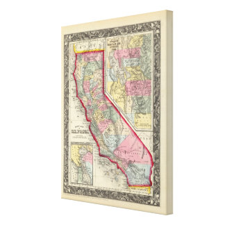 County Map Of California Gallery Wrapped Canvas
