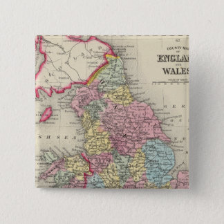 County Map Of England, And Wales 15 Cm Square Badge