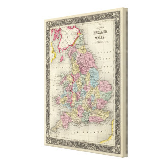 County Map Of England, And Wales Canvas Print