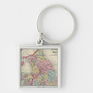 County Map Of England, And Wales Silver-Colored Square Key Ring