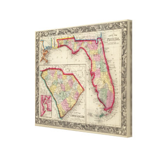 County Map Of Florida Canvas Print