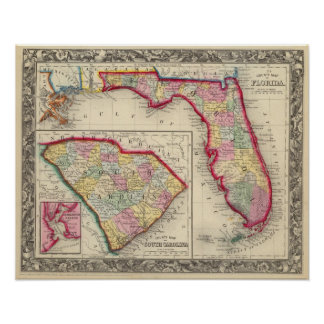 County Map Of Florida Poster