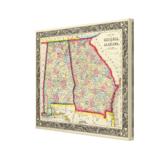 County Map Of Georgia, And Alabama Canvas Print