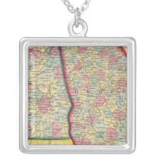 County Map Of Georgia, And Alabama Silver Plated Necklace