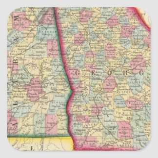 County Map Of Georgia, And Alabama Square Sticker