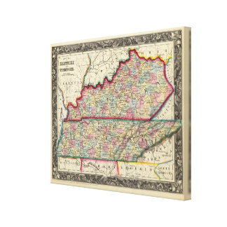 County Map Of Kentucky, And Tennessee Canvas Print