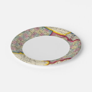 County Map Of Ohio, And Indiana 7 Inch Paper Plate