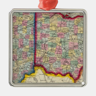County Map Of Ohio, And Indiana Christmas Ornament