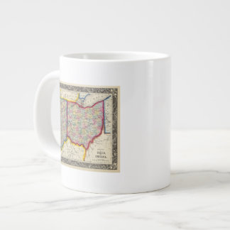 County Map Of Ohio, And Indiana Large Coffee Mug