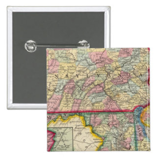 County Map Of Pennsylvania, New Jersey 15 Cm Square Badge
