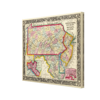 County Map Of Pennsylvania, New Jersey Canvas Print