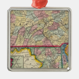 County Map Of Pennsylvania, New Jersey Silver-Colored Square Decoration