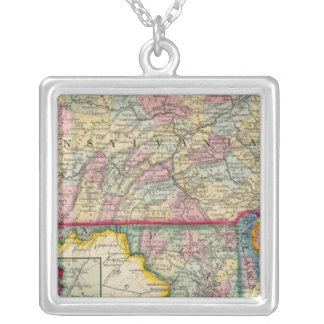 County Map Of Pennsylvania, New Jersey Silver Plated Necklace