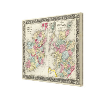 County Map Of Scotland Canvas Print