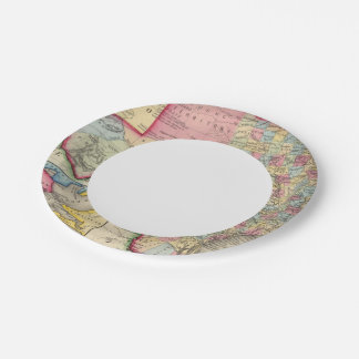 County Map Of Texas 7 Inch Paper Plate