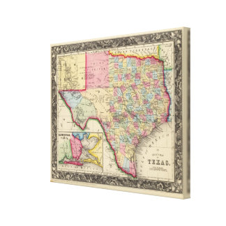County Map Of Texas Canvas Print