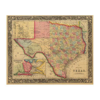 County Map Of Texas Wood Print