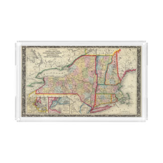 County Map Of The States Of New York Acrylic Tray