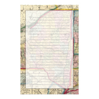 County Map Of The States Of New York Stationery