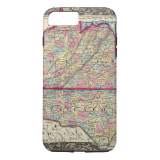 County Map Of Virginia, and North Carolina iPhone 8 Plus/7 Plus Case