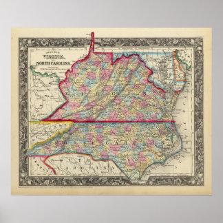 County Map Of Virginia, and North Carolina Poster