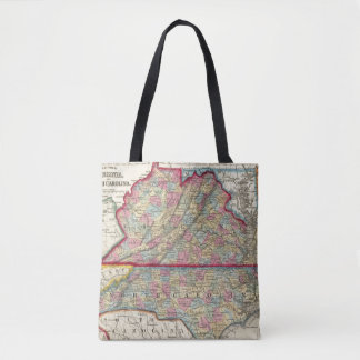 County Map Of Virginia, and North Carolina Tote Bag