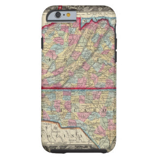 County Map Of Virginia, and North Carolina Tough iPhone 6 Case