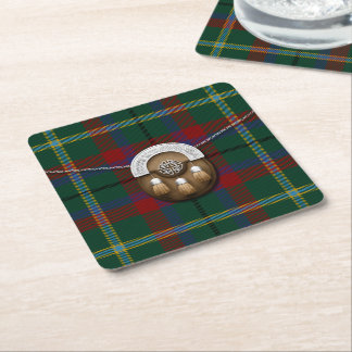 County Mayo Irish Tartan And Sporran Square Paper Coaster