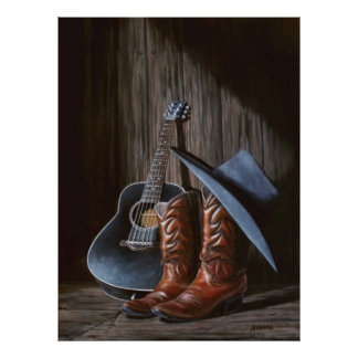 """County Music """"Boots"""" Poster"""