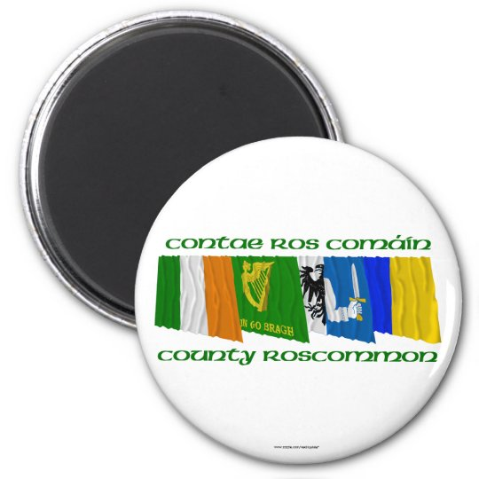 County Roscommon Flags 6 Cm Round Magnet