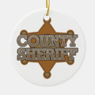 County Sheriff Round Ceramic Decoration