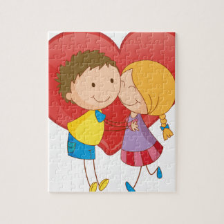 Couple and heart jigsaw puzzles