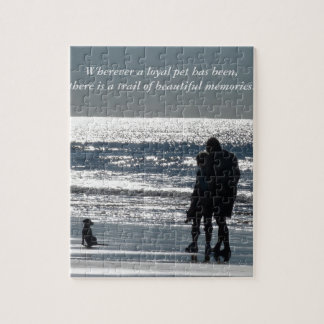 Couple and Their Dog by the Ocean - Personalizable Jigsaw Puzzles