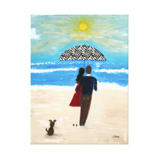 Couple at Ocean Beach Stretched Canvas Print