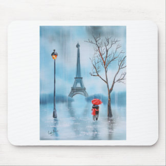 Couple at the Eiffel Tower Paris painting Mouse Mat
