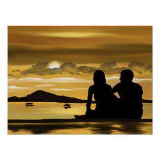 Couple beach romance beautiful scenery poster