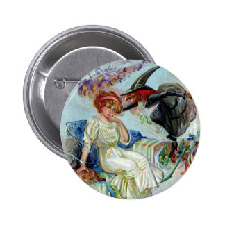 Couple Bewitched on Hallowe'en Vintage 6 Cm Round Badge
