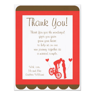 Couple Bike Red/Brown Wedding Flat Thank You Card 11 Cm X 14 Cm Invitation Card