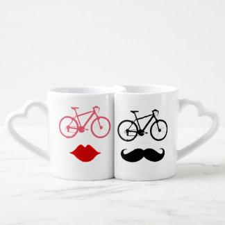 couple bikers lips & moustache coffee mug set
