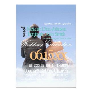 couple boy girl love clouds/Wedding Invitation