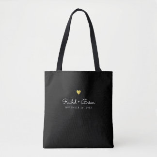 couple / bride & groom names on black tote bag