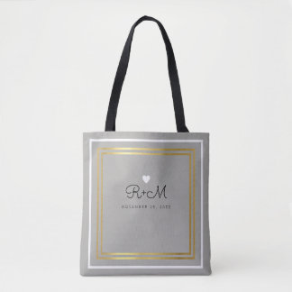 couple / bride & groom names on gray tote bag