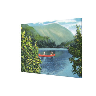 Couple Canoeing on a Lake Stretched Canvas Prints
