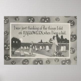 Couple Cemetery Graveyard Ghost Prank Poster