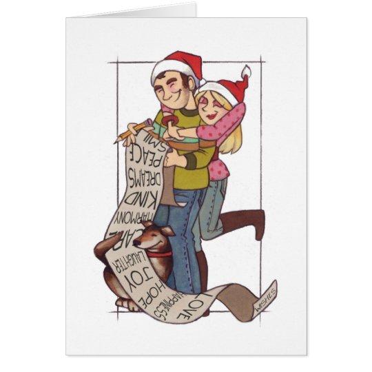 Couple Christmas Wish List Notecard
