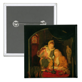 Couple counting money by candlelight, 1779 15 cm square badge