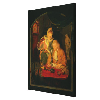 Couple counting money by candlelight, 1779 canvas print