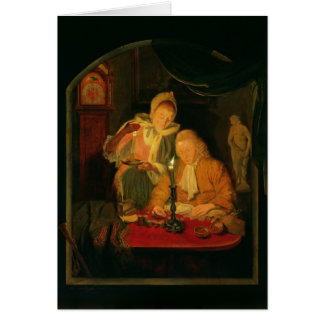 Couple counting money by candlelight, 1779 card